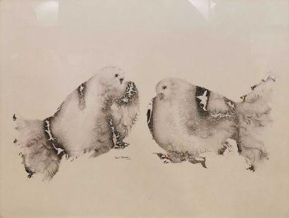 BURMAN Sakti (1935-1974) Couple de pigeons...