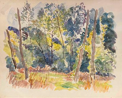 GIRARD Louis Auguste (1896-1981)  forêt  aquarelle...