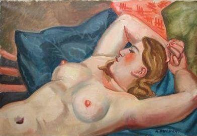 FAVORY André, 1888-1937,  Modèle aux coussins,...