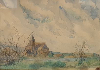 ROBIN L., early 20th century,  Church in the country, 1920,  watercolour (sunshine),...