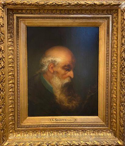 SOMERS G., XIXe siècle,  Homme méditant devant...