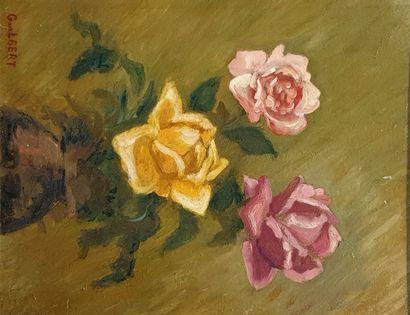 GUILBERT Robert (1920-1992)  Roses  Huile...