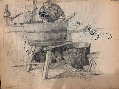 FESNEAU Auguste Henri (1873-?)  Lot de quatre études de félins:    Tigre allongé...