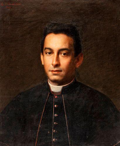 ECOLE XIXeme siècle  Portrait d'un prêtre...