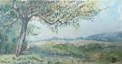 ÉCOLE MODERNE,  Paysage à l'arbre, 7.10.17,...