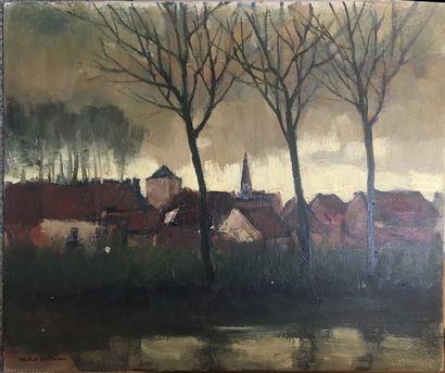 DUTRIEU Michel (1910-1993)  Bord de fleuve,...