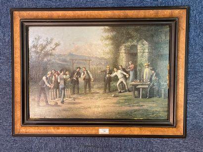 SAURFELT Léonard (c.1840-?) Les joueurs...