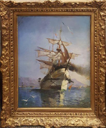 PAUL Jean (XIX-XXeme)  Voilier 1893 (?)  Huile...