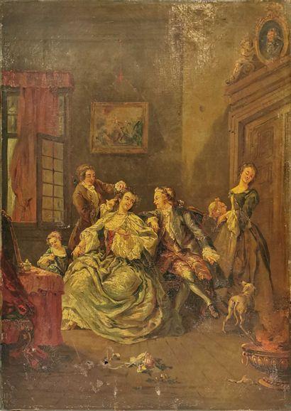 ECOLE XIXe  La coiffure,  huile sur toile...