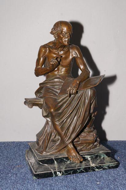DROUOT Édouard, 1859-1945,  Philisophe antique,bronze...