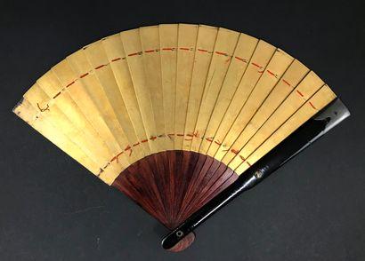 Bambou doré, Japon, XIXe siècle  Grand éventail...