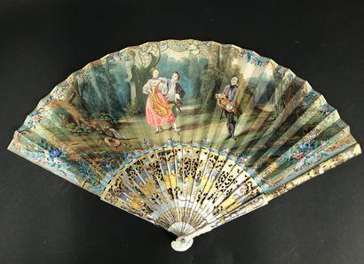 Le joueur de vielle, vers 1840-1850  Éventail...
