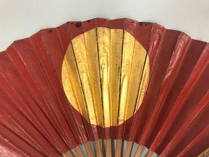 Gun Sen, Japon, fin XIXe siècle  Éventail plié, de guerre, la feuille double en...