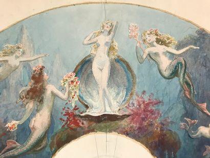 Les sirènes, vers 1900-1920  Projet de feuille d'éventail sur papier au lavis de...