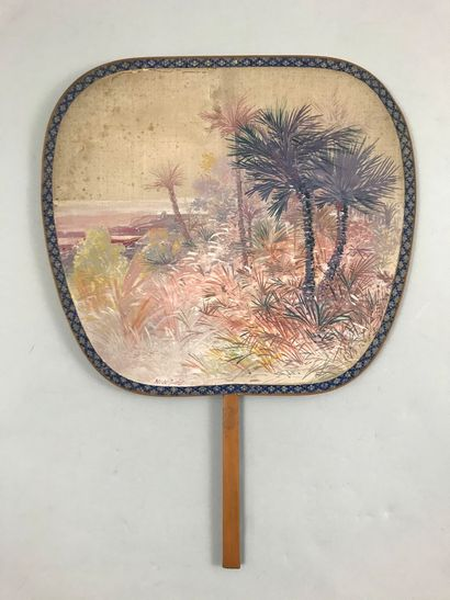 Exotic horizon, early 20th century  Silk hand screen painted from a palm grove on...