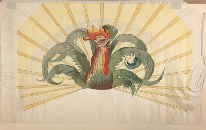 Le coq Chantecler d'après Thomasse  Célèbre feuille d'éventail avant découpe, imprimée...