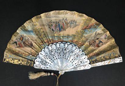 Dans l'arène, vers 1850-1860  Éventail plié,...