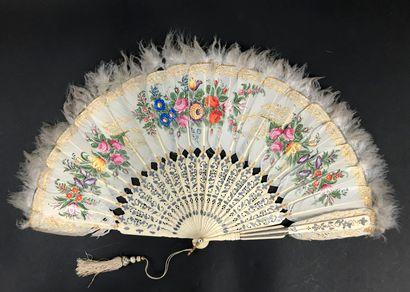 Profusion de fleurs, vers 1860  Éventail,...