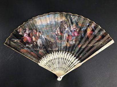 Le sonneur de cor, vers 1700 Éventail plié,...