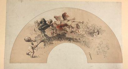 La fête Callot, vers 1905  Deux feuilles d'éventails , avant découpe, imprimées...