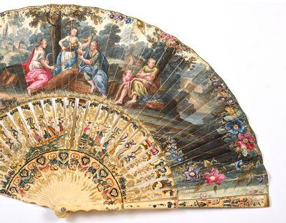 Les quatre saisons, vers 1750 Éventail plié, la feuille en peau peinte à la gouache...