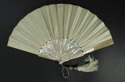 Rosehips, circa 1880  Folded fan, the sheet in cream silk painted with flowers....