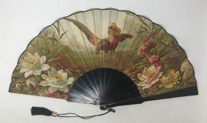Le faisan, vers 1890-1900  Grand éventail,...