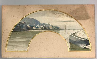 Vue sur le port, vers 1920  Feuille d'éventail...