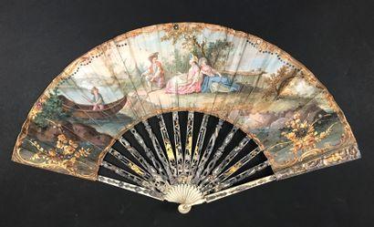Le joli pêcheur, vers 1780 Éventail plié,...