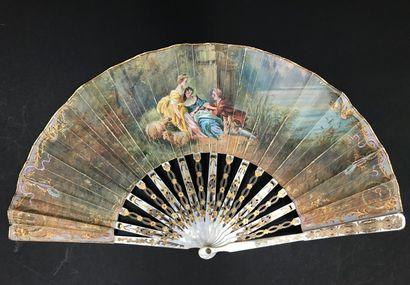 Deux éventails, vers 1900-1920  *L'un, la feuille en peau peinte d'après François...