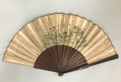 Country marivaudage, circa 1730-1740  Rare and very large folded fan, the double...