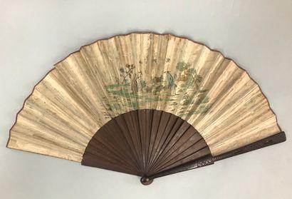 Marivaudage champêtre, vers 1730-1740  Rare et très grand éventail plié, la feuille...