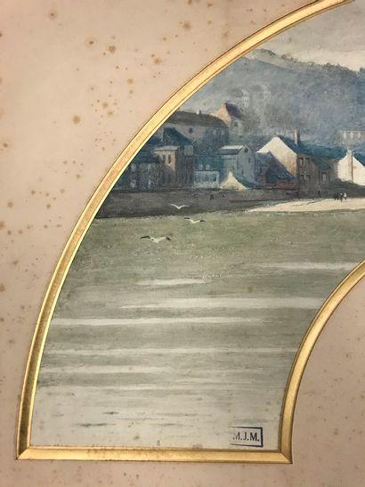 Vue sur le port, vers 1920  Feuille d'éventail en peau crème peinte d'une vue d'un...