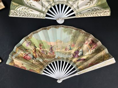 Four advertising fans  Paper sheets, wooden frames for the Foyot Armenonville r...