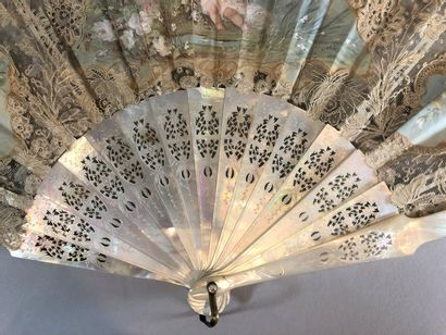 Child Zephyr, circa 1890  Folded fan, the white lace leaf with floral decoration...
