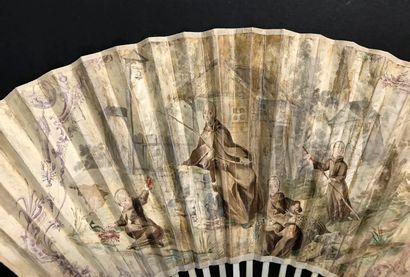 Les pêcheurs, vers 1720-1740 Étonnant éventail plié, la feuille double en peau peinte...