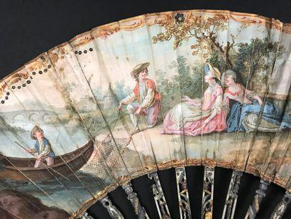 The pretty fisherman, circa 1780  Folded fan, the wallpaper sheet of a riverbank...