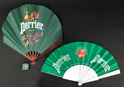 PERRIER - Two fans  One, the paper sheet, the wooden frame, with its original ring...