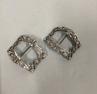 Pair of silver shoe buckles set with fancy stones.  Swedish work, circa 1920.  Gross...