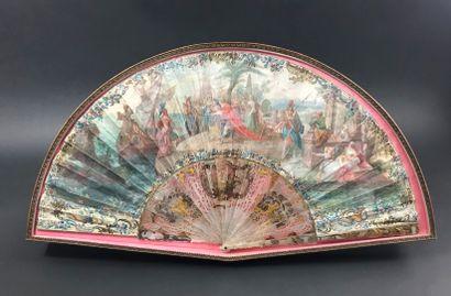 Cléopâtre et Marc-Antoine, vers 1750  Éventail plié, la feuille en peau doublée...