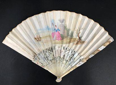Le couronnement de l'élue, vers 1750 Éventail plié, la feuille double en papier...