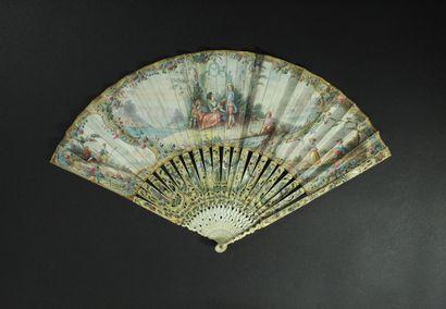 Le panier, vers 1760 Éventail plié, la feuille...