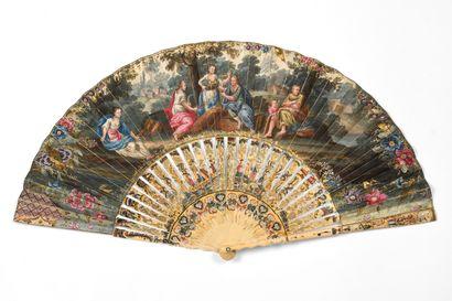 Les quatre saisons, vers 1750 Éventail plié,...
