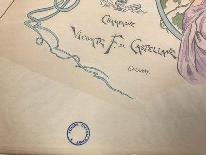 Champagne de Castellane, circa 1900  Printed fan sheet, before cutting, for Vicomte...