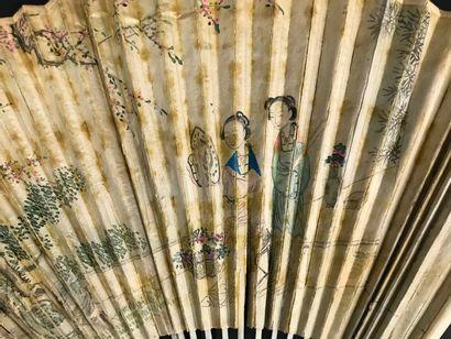Les deux courtisanes, Chine, XIXe siècle  Éventail plié, la feuille double en papier...