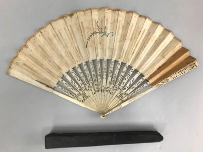 The hitch, circa 1760-1770  Folded fan, the double sheet of paper engraved, in the...
