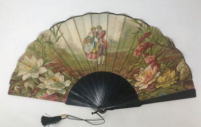 Le faisan, vers 1890-1900  Grand éventail, la feuille en tissu imprimé en couleurs....