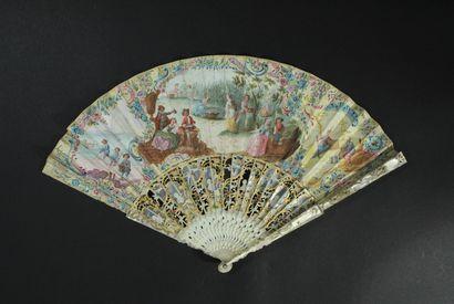 Vendanges, vers 1740-1750 Éventail plié,...
