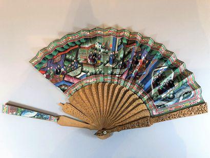 Santal, Chine, XIXe siècle Éventail plié,...