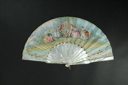 Les colombes, vers 1860-1870  Éventail plié,...